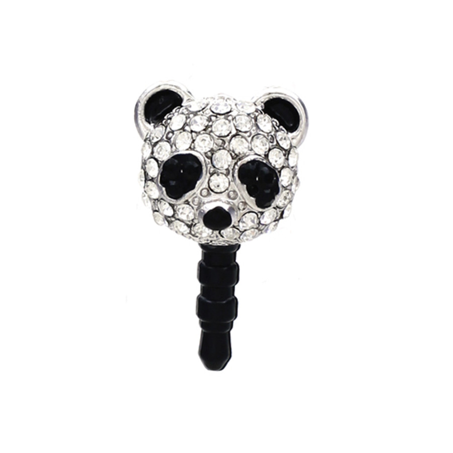 Earphone Dustproof Plug Stopper Phone Ear Cap Crystal Rhinestone Panda Black