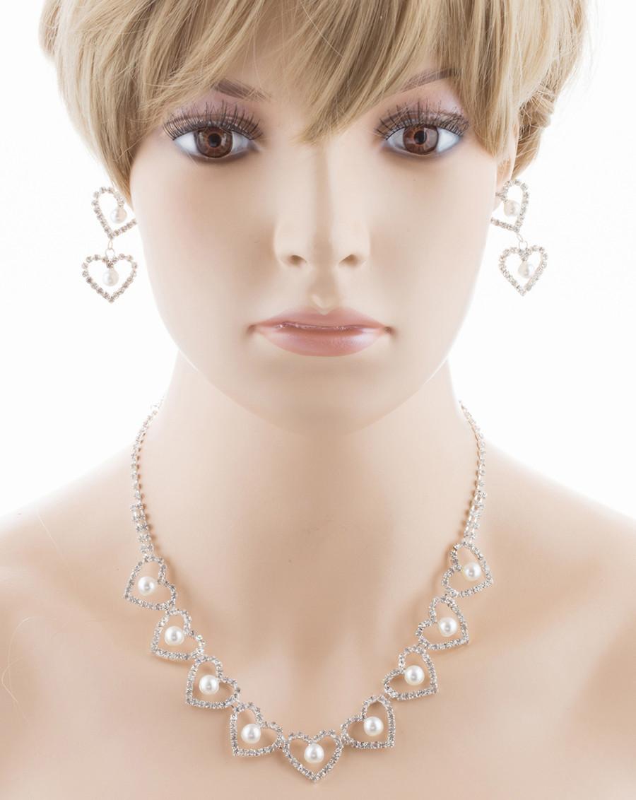 Bridal Wedding Jewelry Set Crystal Rhinestone Pearl Heart Link Necklace SV