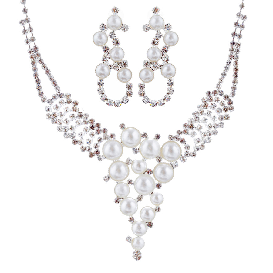 Bridal Wedding Jewelry Set Crystal Rhinestone Pearl Exquisite Design Silver