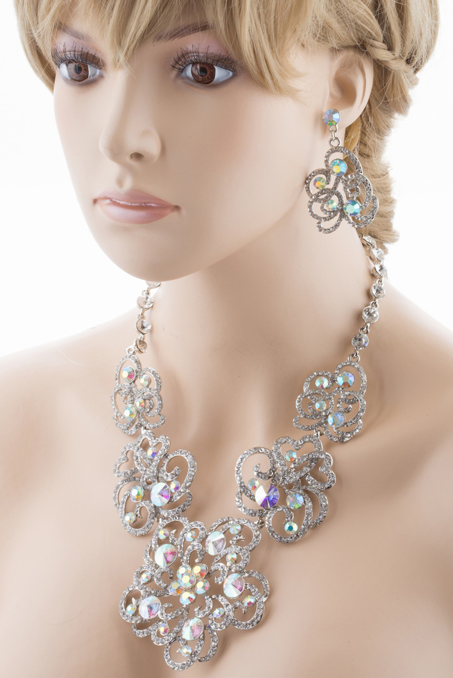 Bridal Wedding Jewelry Set Crystal Rhinestone Chunky Floral Necklace Silver AB