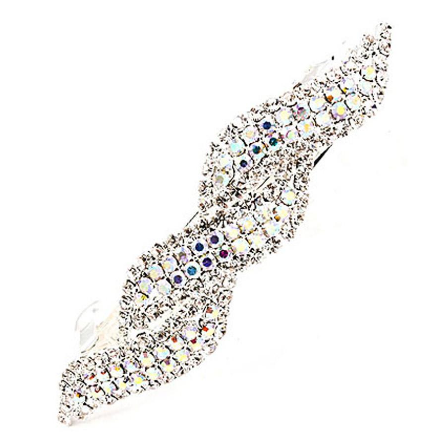 Bridal Wedding Hair Jewelry Sparkling Interlaced Design Barrette Clip Silver AB