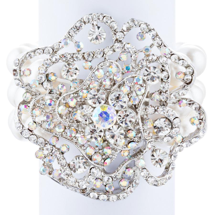 Bridal Wedding Jewelry LG Flower Crystal Pearls Stretch Bracelet Silver Ivory