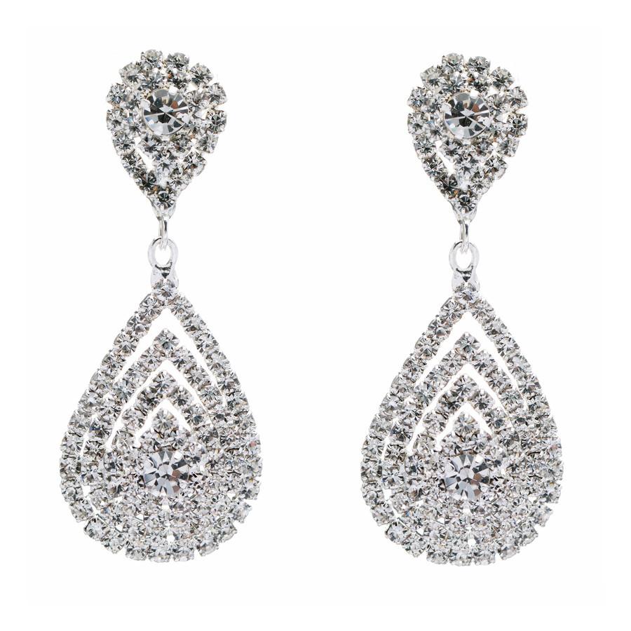 Bridal Wedding Jewelry Beautiful Dazzle Crystal Dangle Fashion 3D Earrings