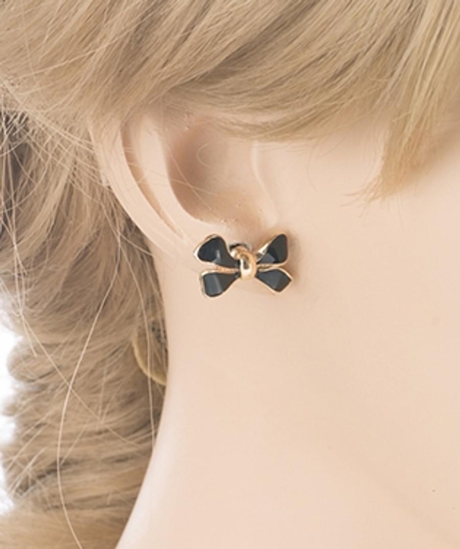 Gorgeous Fashion Ribbon Bow Design Enamel Small Stud Earrings Gold Black