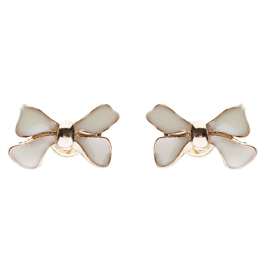 Gorgeous Fashion Ribbon Bow Design Enamel Small Stud Earrings Gold Cream Ivory