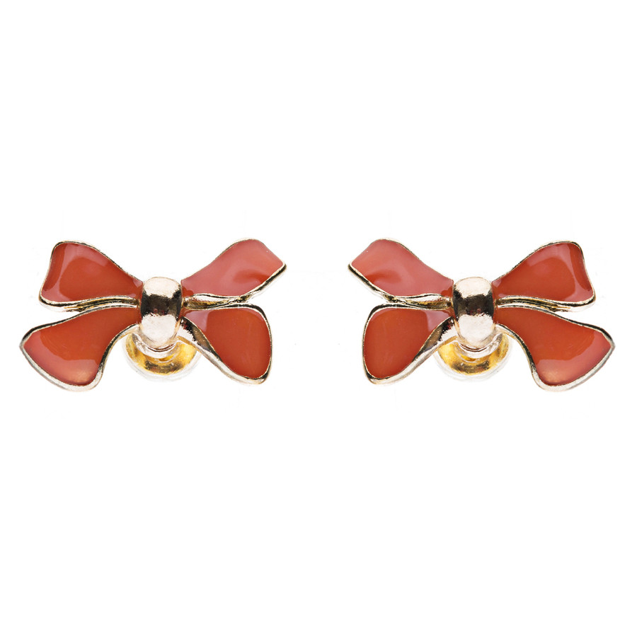 Gorgeous Fashion Ribbon Bow Design Enamel Small Stud Earrings Gold Coral Red