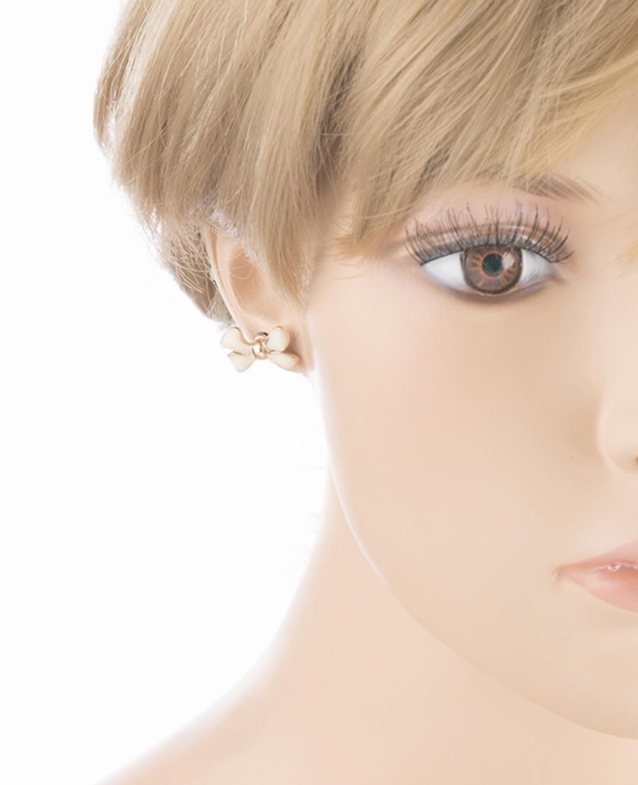 Gorgeous Fashion Ribbon Bow Design Enamel Small Stud Earrings Gold Pink