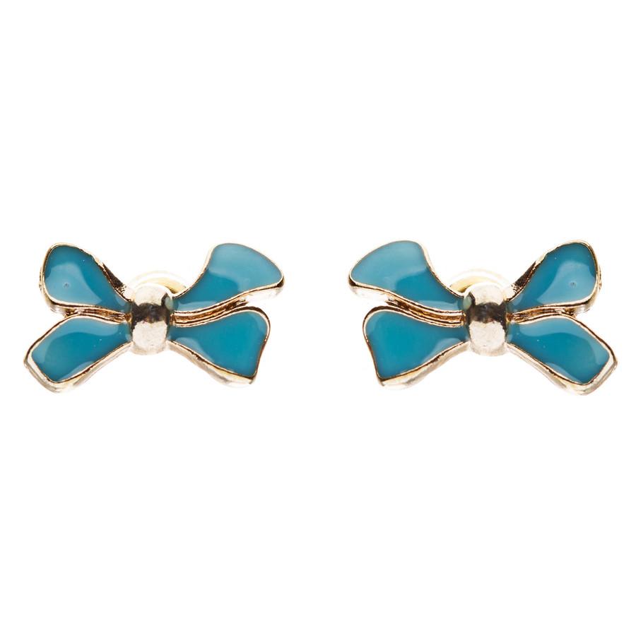 Gorgeous Fashion Ribbon Bow Design Enamel Small Stud Earrings Gold Turquoise