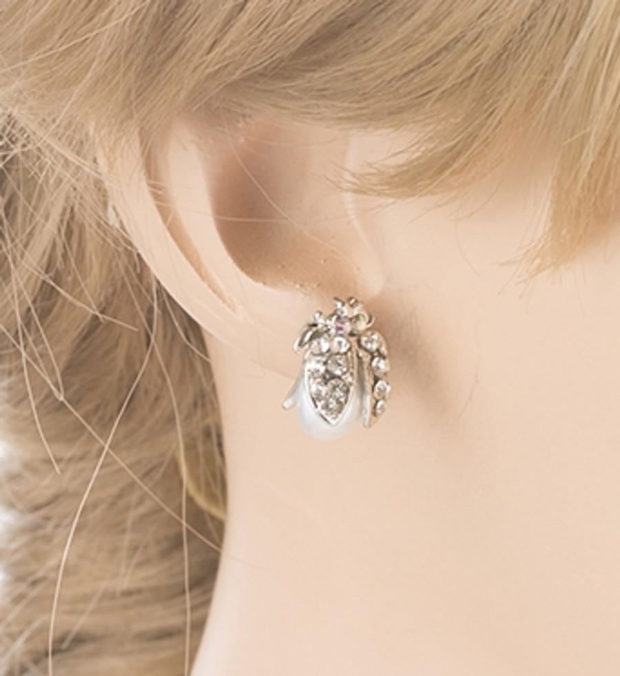 Cute Little Ladybug Bug Crystal Rhinestone Fashion Stud Earrings Silver White
