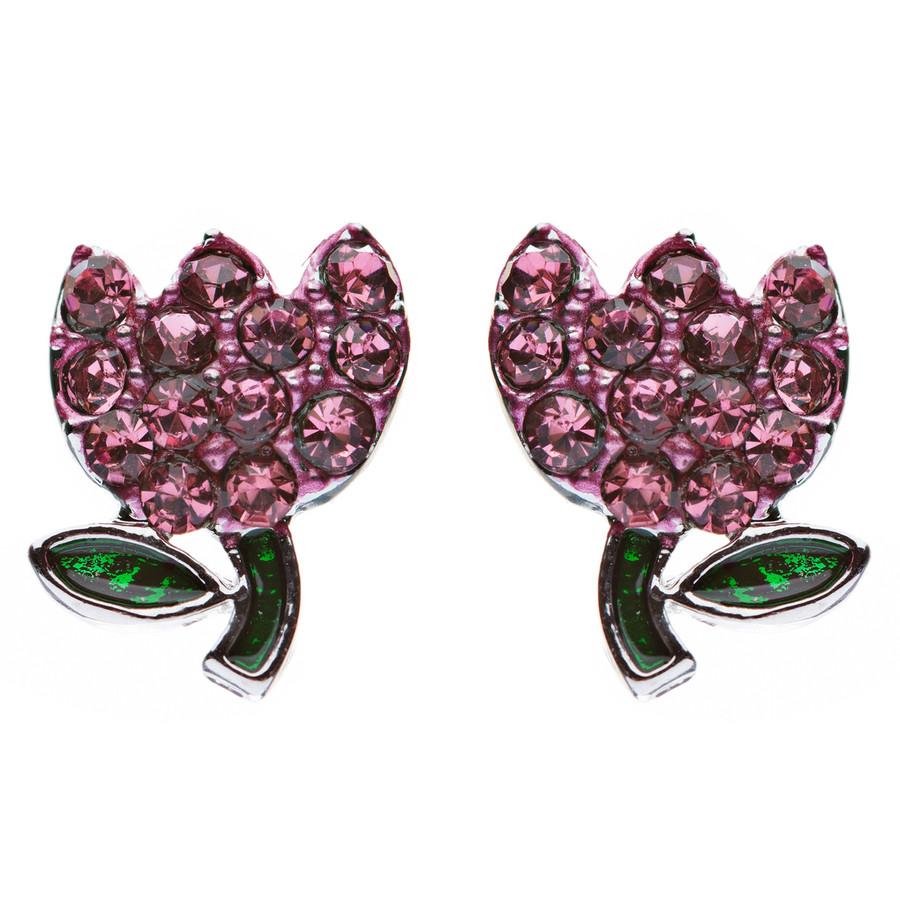Gorgeous Crystal Rhinestone Tulip Flower Fashion Stud Earrings Silver Pink
