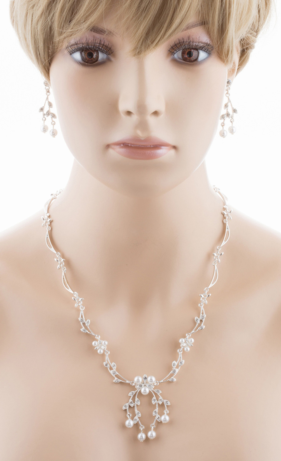 Bridal Wedding Jewelry Set Crystal Rhinestone Floral Pearl Necklace Silver