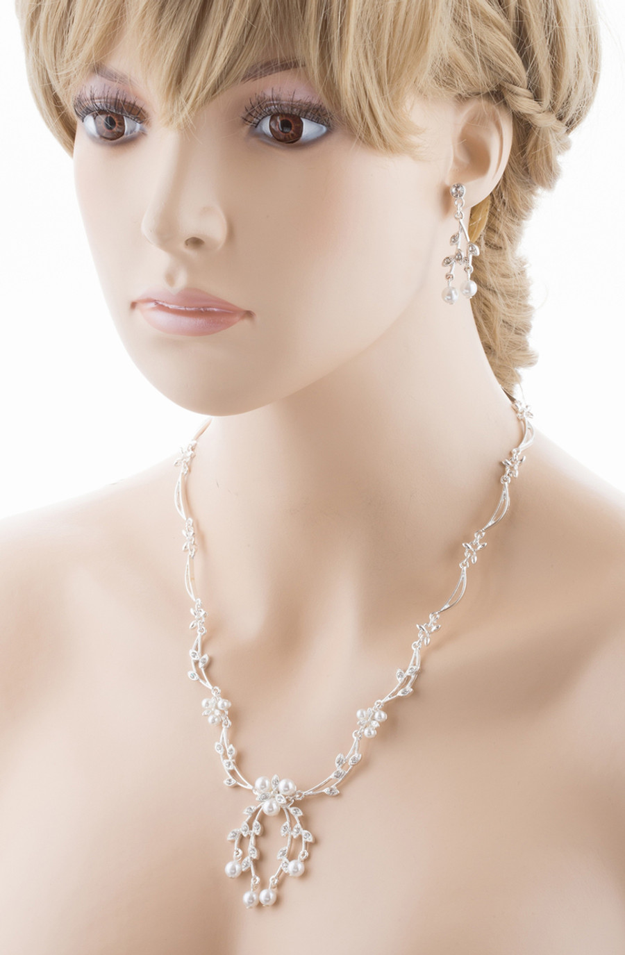 Bridal Wedding Jewelry Set Crystal Rhinestone Floral Pearl Necklace Silver