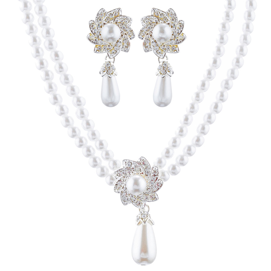 Bridal Wedding Jewelry Set Crystal Elegant Drop Pearl Necklace Silver
