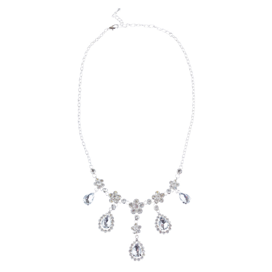 Bridal Wedding Jewelry Set Crystal Rhinestone Gorgeous Multi Teardrop Dangles SV