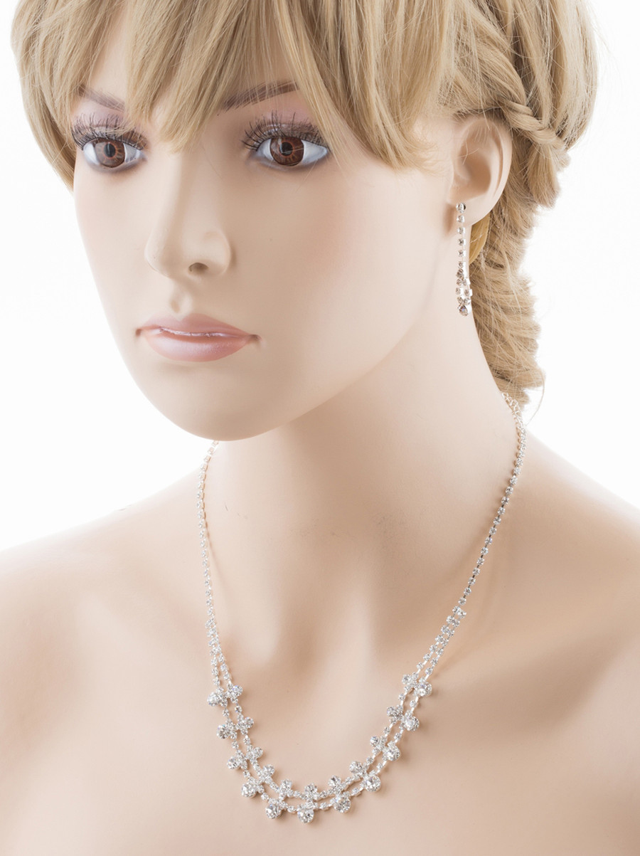Bridal Wedding Jewelry Set Crystal Rhinestone Simple Liner Chic Necklace Silver