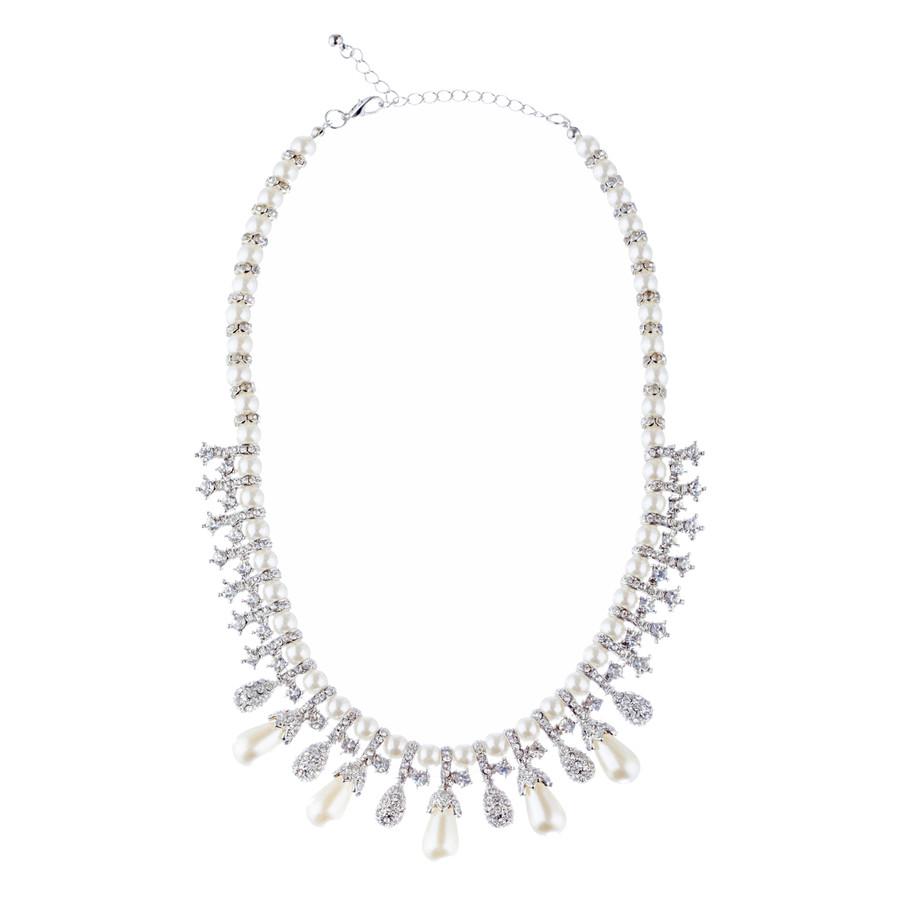 Bridal Wedding Jewelry Set Necklace Crystal TD Pearl Bib Choker Design Silver