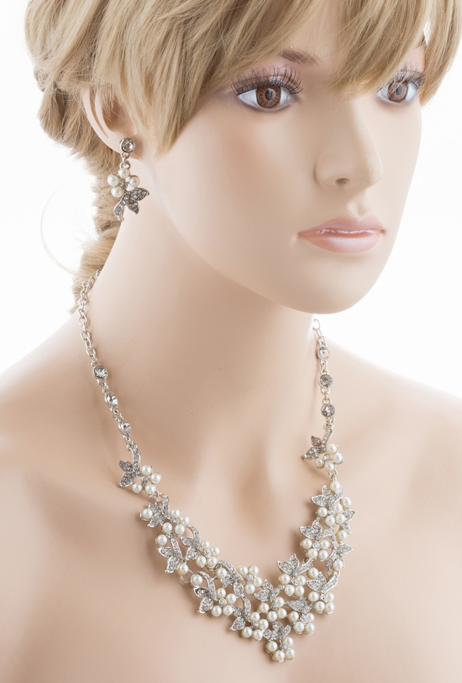 Bridal Wedding Jewelry Set Necklace Crystal Rhinestone Pearl Floral Bib Silver