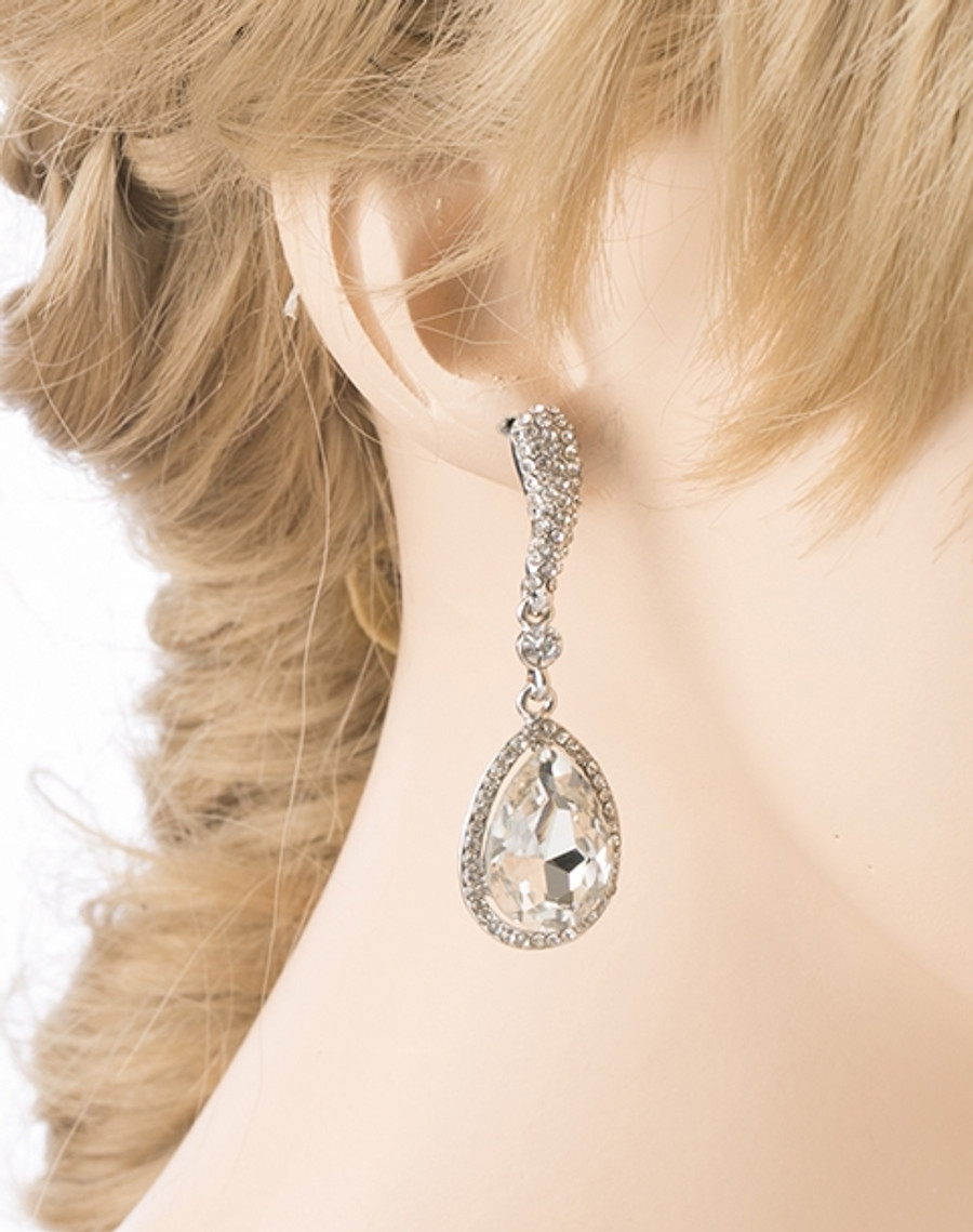 Bridal Wedding Crystal Rhinestone Bright Beautiful Classic Dangle Earring Silver