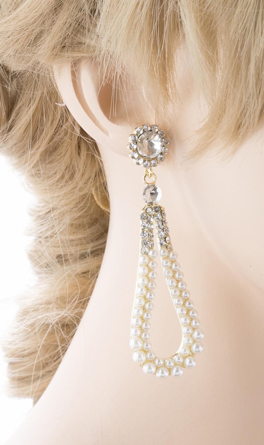 Bridal Wedding Jewelry Crystal Rhinestone Pearl Hoop Elegant Dangle Earring Gold