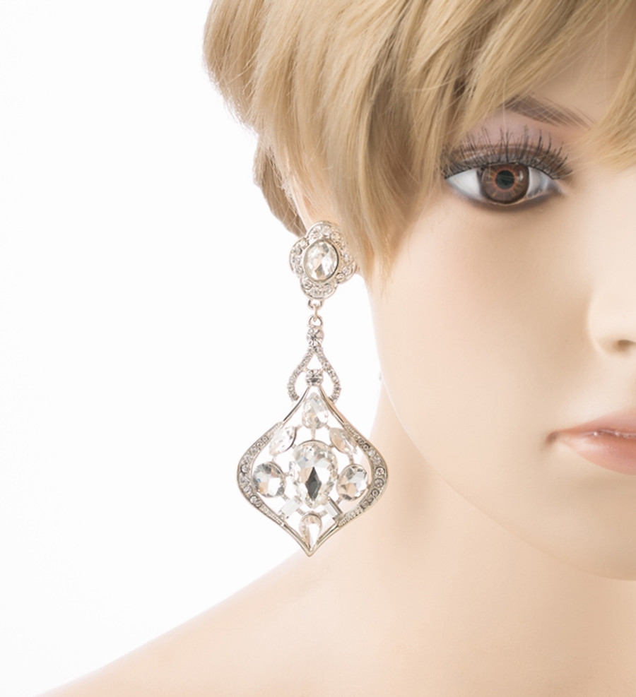 Bridal Wedding Jewelry Crystal Rhinestone Extraordinary Stylish Earrings Silver
