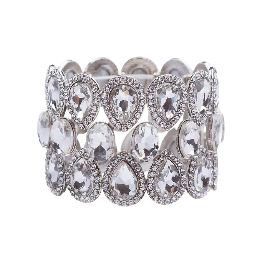 Bridal Wedding Jewelry Crystal Rhinestone Stunning Fancy Stretch Bracelet Silver
