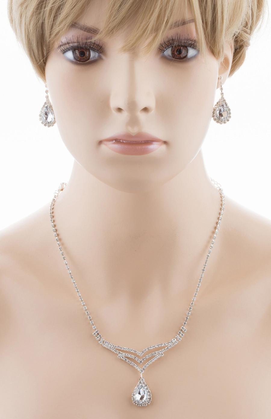 Bridal Wedding Jewelry Set Crystal Rhinestone Elegant TD V-Drop Necklace Silver