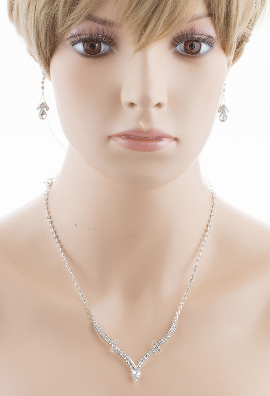 Bridal Wedding Jewelry Set Crystal Rhinestone Simple Curved V Drop Necklace CL