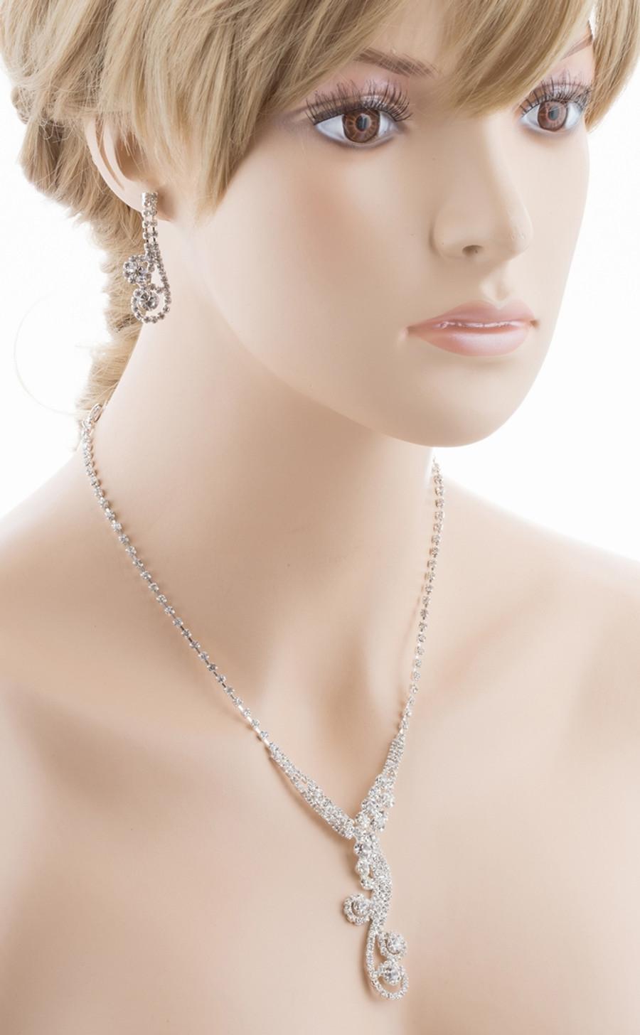 Bridal Wedding Jewelry Set Crystal Rhinestone Dazzle Y Drop Swirl Necklace SV