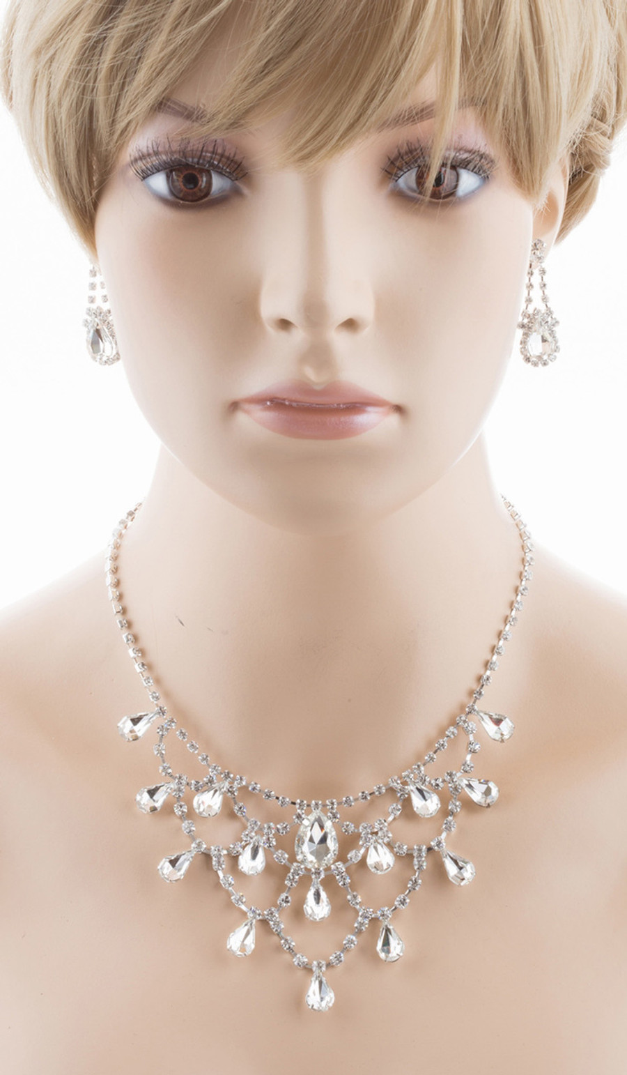 Bridal Wedding Jewelry Set Crystal Rhinestone Stunning Dressy Style Necklace