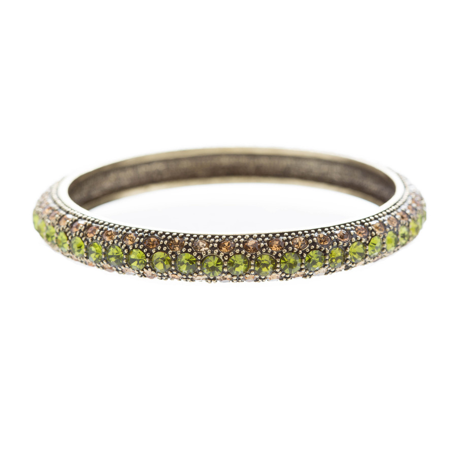 Beautiful Stunning Crystal Rhinestones Metal Bangle Bracelet Antique Green
