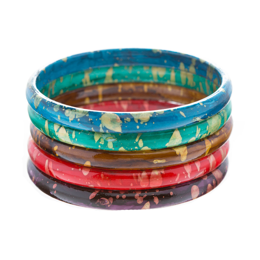Fashion Chic Unique Set Abstract 5 Bangle Bracelets Multi Colored Gold Red Green