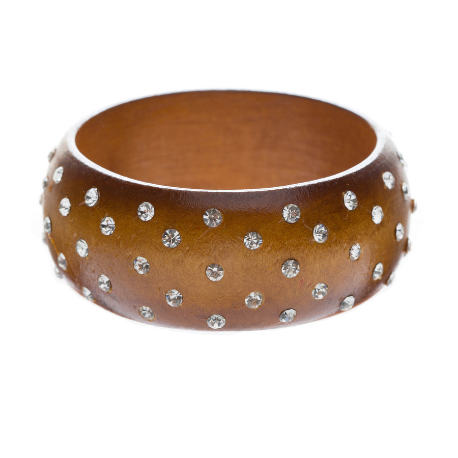 Chic Fashion Trendy Crystal Rhinestone Wide Wood Bangle Bracelet Medium Brown