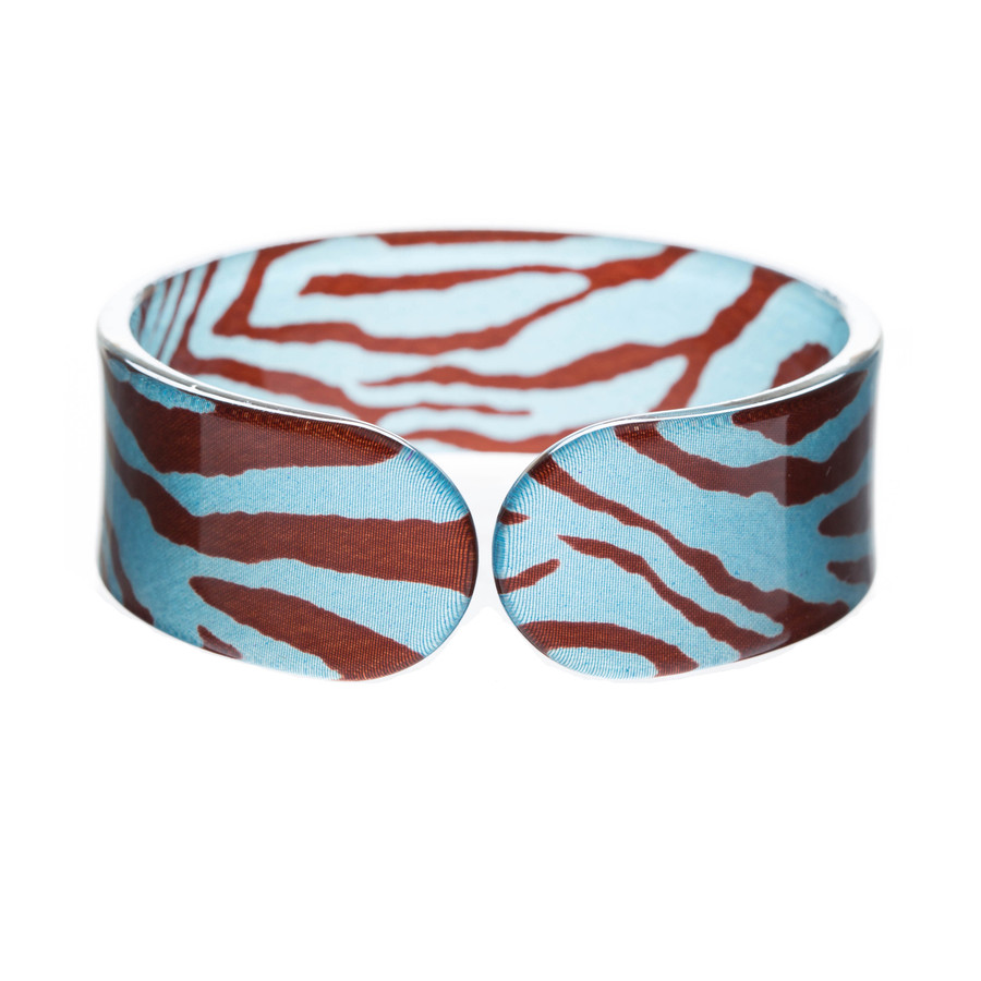 Gorgeous Fashion Zebra Pattern Animal Print Cuff Bracelet Black Blue