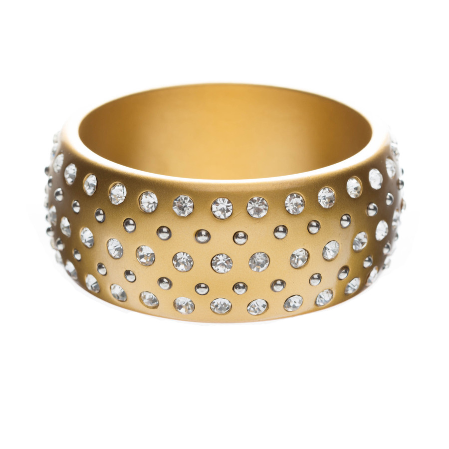 Stunning Sparkle Crystal Rhinestone Studs Wide Fashion Bangle Bracelet Gold