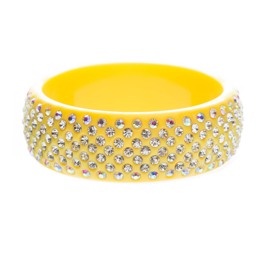Stunning Sparkle Crystal Rhinestone Studs Design Wide Fashion Bangle Yellow
