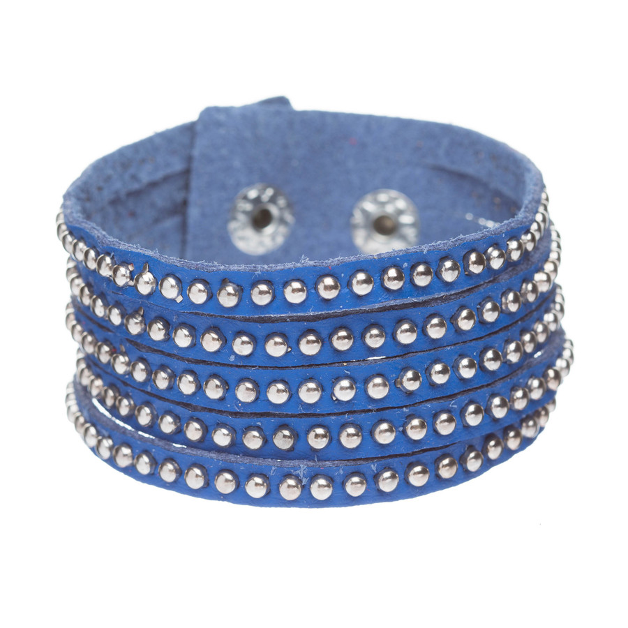 Trendy Metal Studs Style Genuine Leather Fashion Wrap Bracelet Silver Blue
