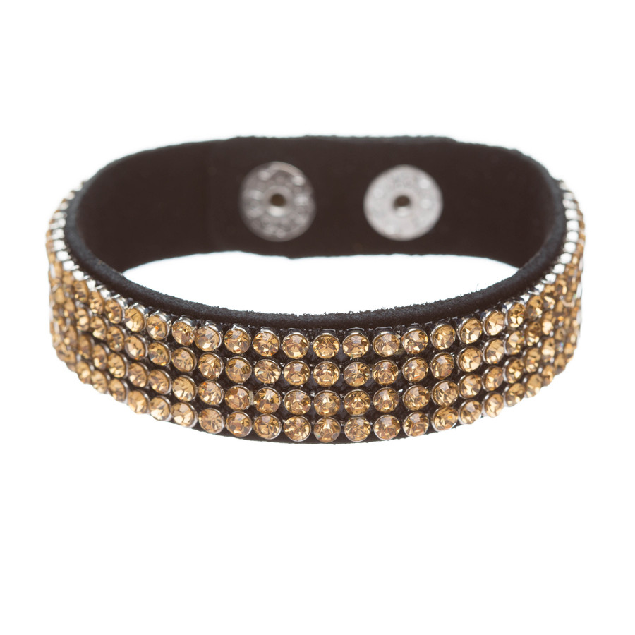Simple Liner Sparkle Crystal Rhinestone Faux Leather Wrap Fashion Bracelet Brown