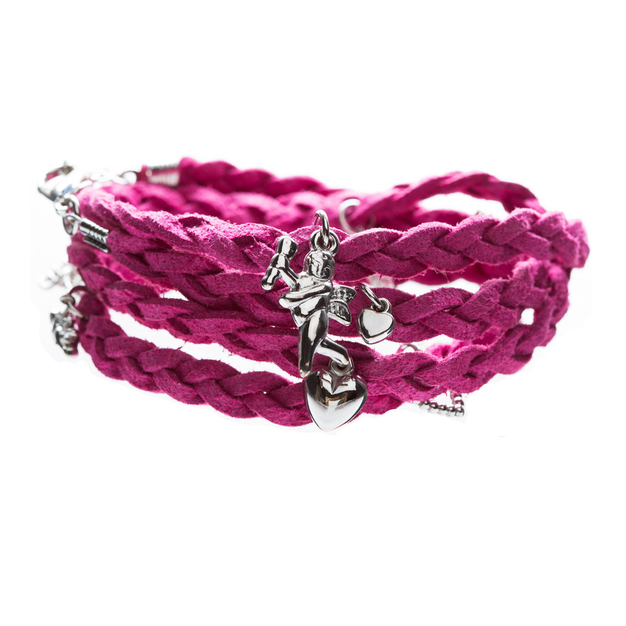 Beautiful Braided Suede Faux Leather Dangle Charms Fashion Wrap Bracelet Red