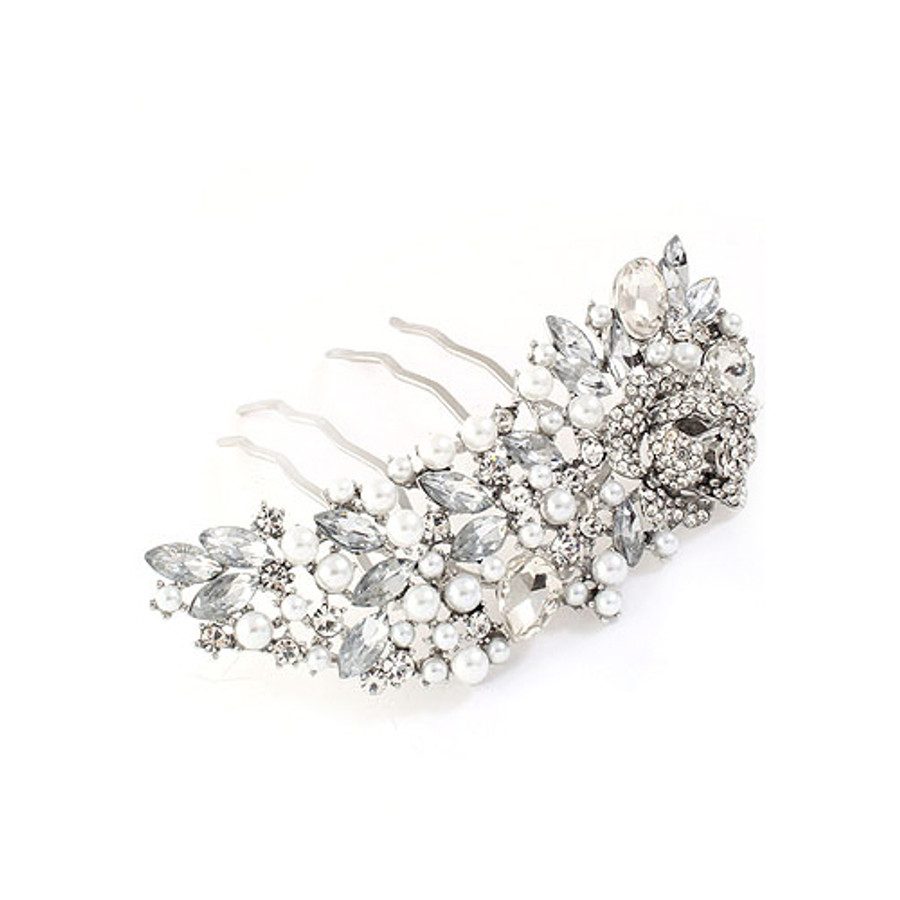 Bridal Wedding Jewelry Crystal Rhinestone Pearl Stylish Hair Decorative Comb Pin