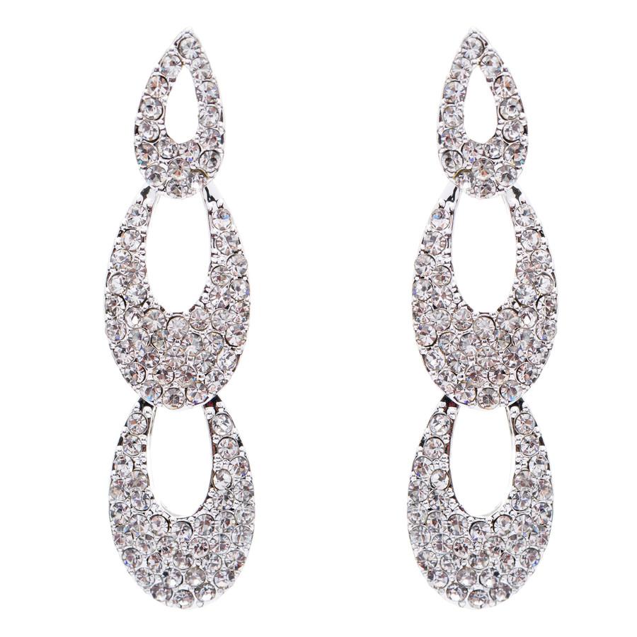 Bridal Wedding Jewelry Crystal Rhinestone Beautiful Cascade Dangle Drop Earrings