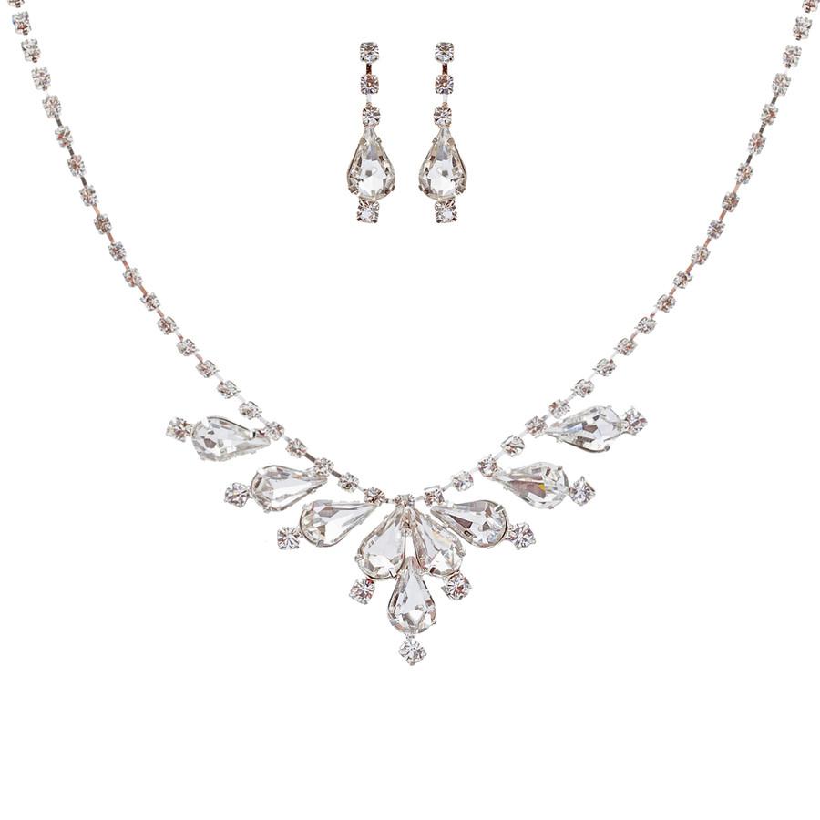 Bridal Wedding Jewelry Set Crystal Rhinestone Classy Stylish Design Necklace