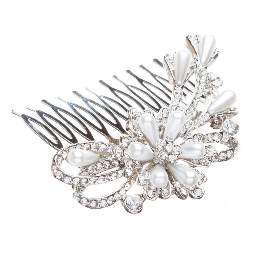 Bridal Wedding Jewelry Crystal Rhinestone Pearl Unique Beautiful Hair Pin Comb