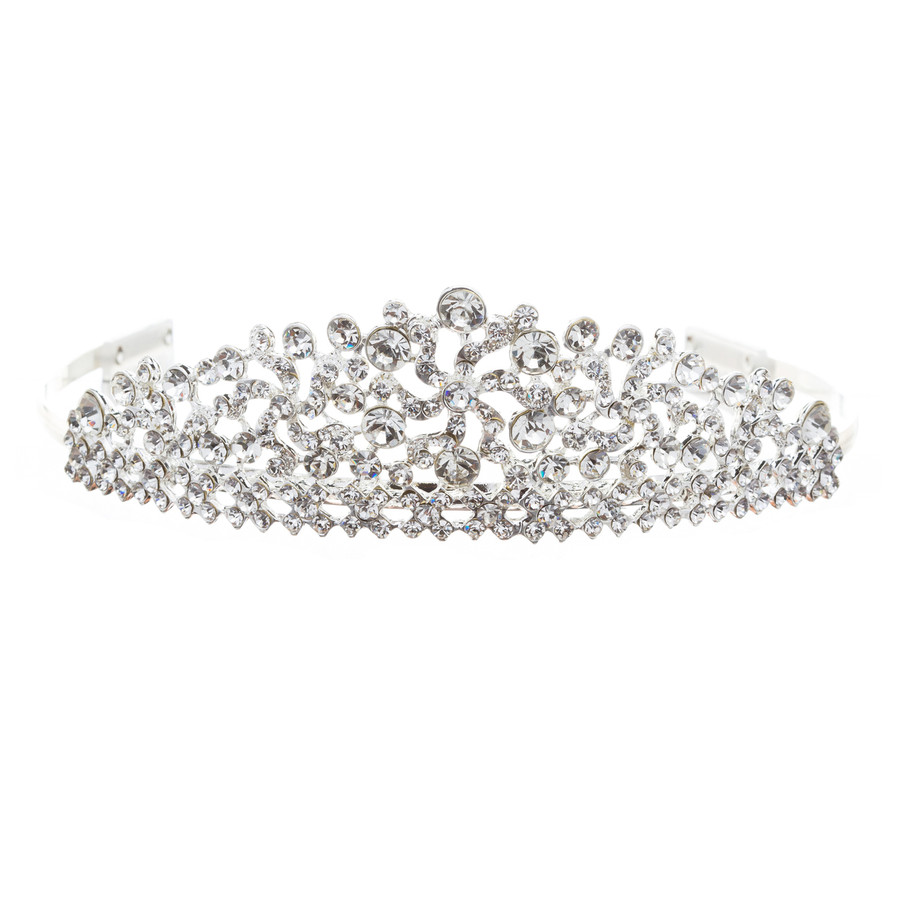Bridal Wedding Jewelry Crystal Rhinestone Lined Motif Dazzle Hair Tiara Headband