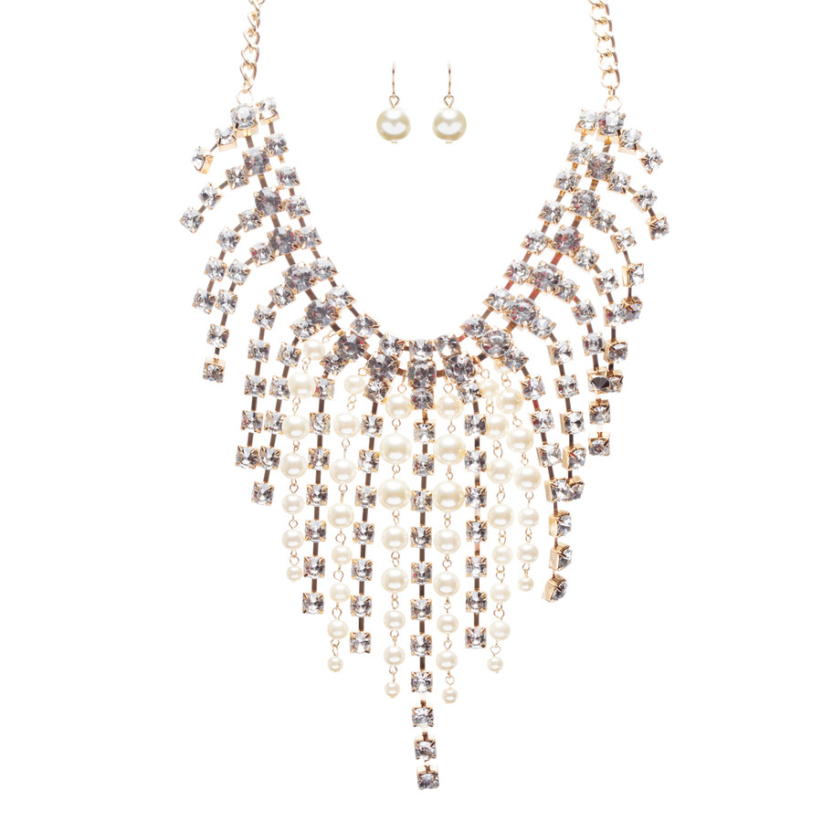 Stunning Gorgeous Bridal Wedding Rhinestone Pearl Bib Statement Necklace Set