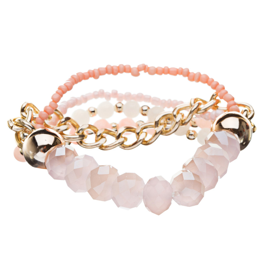 Gorgeous Elegant Classy Multi Strands Mixed Bead Design Stretch Bracelet Peach