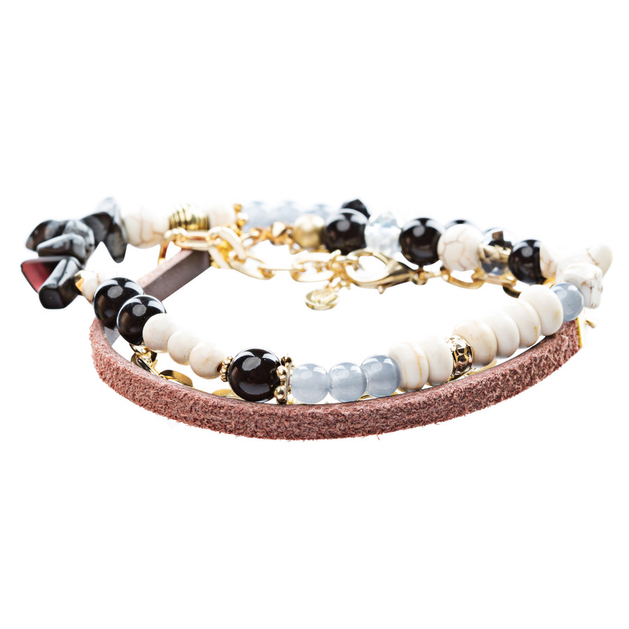 Beautiful Bead Stone Colorful Link Leather Cord Fashion Bracelet B445 Gold Black