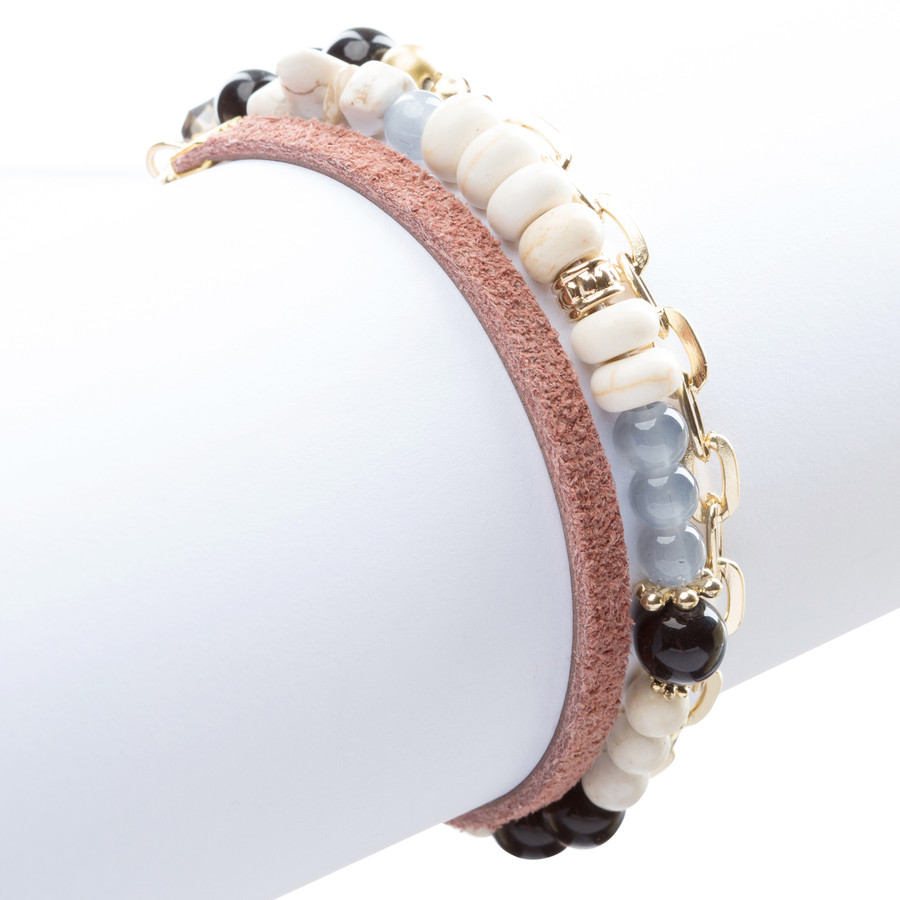 Beautiful Bead Stone Colorful Link Leather Cord Fashion Bracelet B445 Gold Black