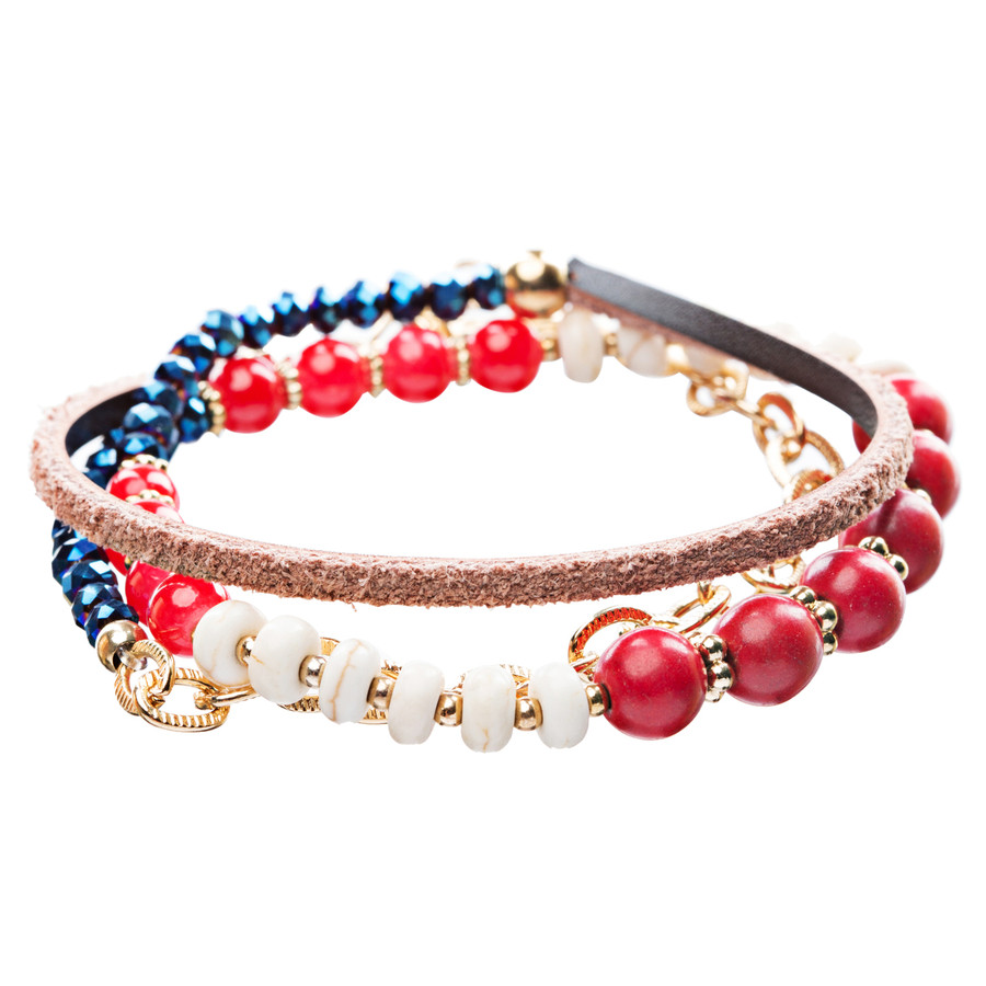Beautiful Stone Bead Tribal Bohemian Statement Wrap Fashion Bracelet B447 Red