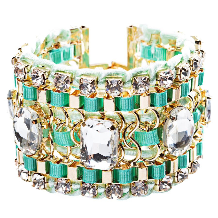 Beautiful Stone Fabric Crystal Rhinestone Latch Fashion Wide Bracelet B456 Green