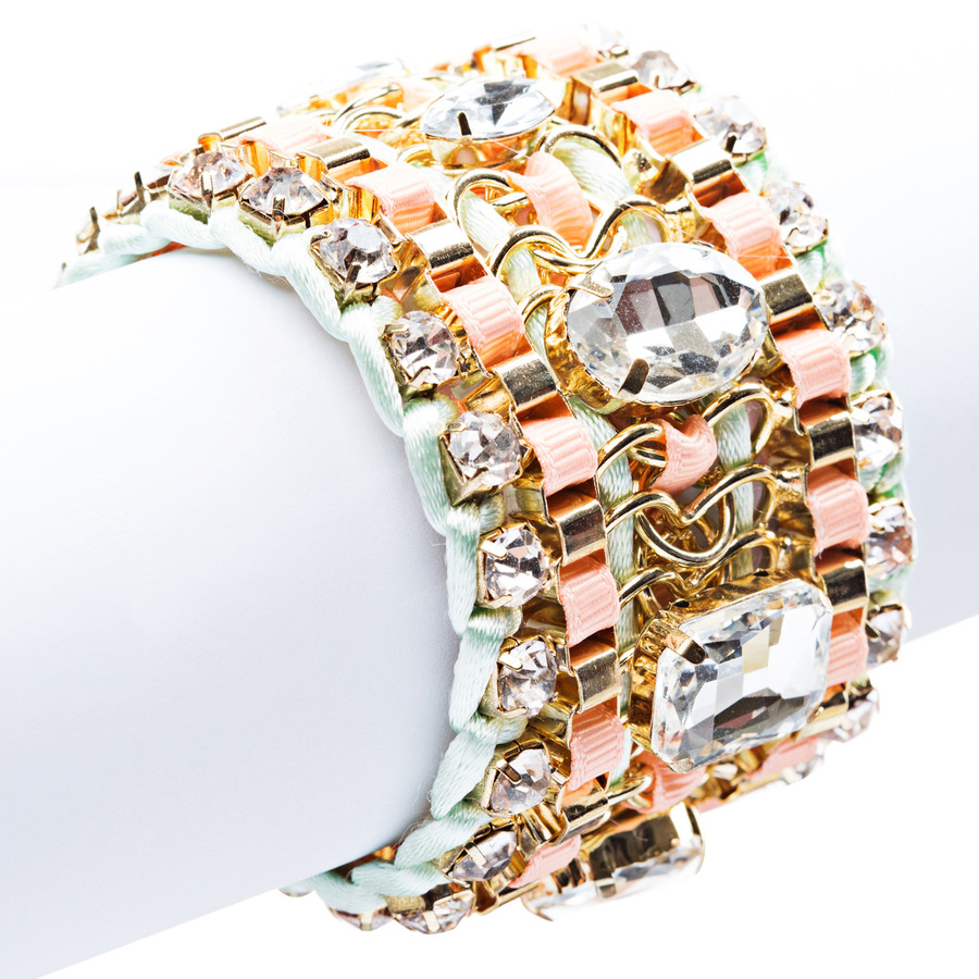 Beautiful Stone Fabric Crystal Rhinestone Latch Fashion Wide Bracelet B456 Pink